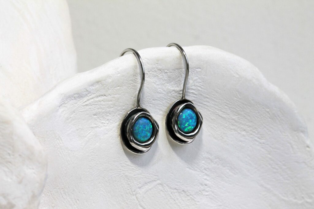A Banyan Jewellery sterling silver hook earrings with blue opalite